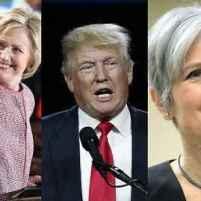 Kandidat capres dalam pemilu presiden AS 2016 dari kiri ke kanan: Darrell Castle (Partai Konstitusi), Hillary Clinton (Demokrat), Donald Trump (Republikan), Jill Stein (Green), dan Gary Johnson (Libertarian)